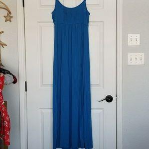 Calvin Klein blue pleated maxi dress size 6